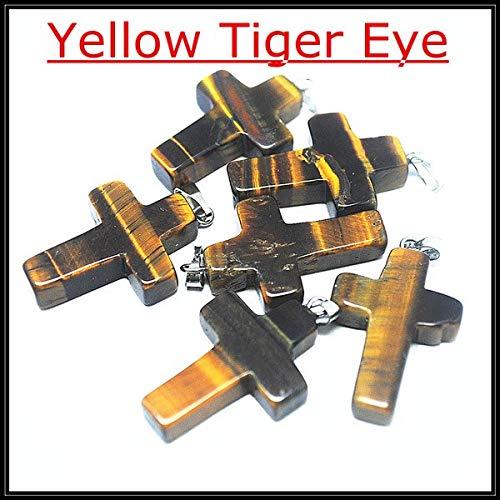 (Calvas 5 pcs Nature gem Stone Cross Shape Stone Pendant Charms Pendant Christians Likes Cross Pendant Size 18x25mm - (Color: Yellow Tiger Eye) )