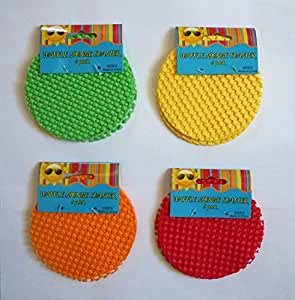 6 Colorful Non Slip Waffle Sponge Coasters / Jar Grippers (Green)