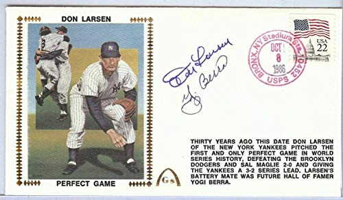Yogi Berra Don Larsen Dual Signed Autographed First Day Cover U82445 - JSA Certified - MLB Cut Signatures