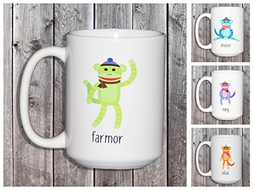 Personalized Sock Monkey Creature Cocoa Mug for Kids - Your Choice of Colors - Kid Creature Socks