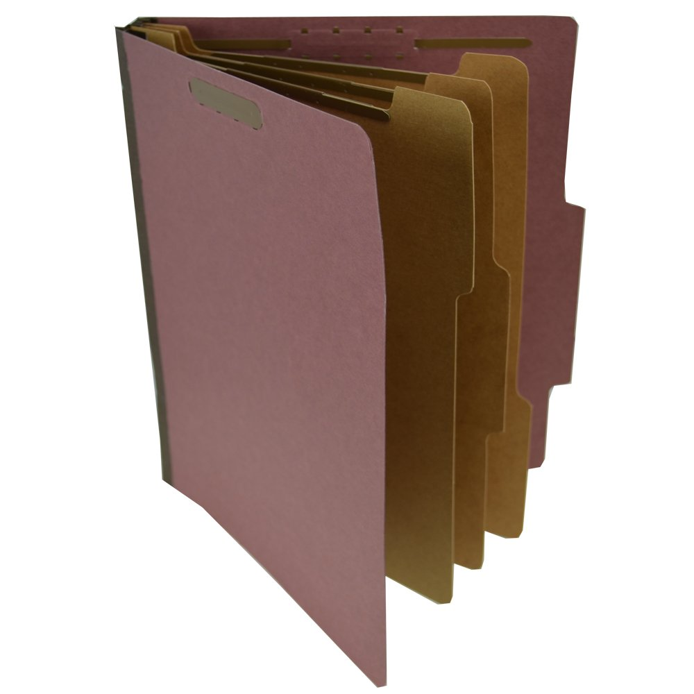 Star S60850 Pressboard Classification Partition Folder, 3 Dividers, 3-Inch Expansion, 2/5 Cut Tab, Brick Red, Letter Size, Box of 10 by Star