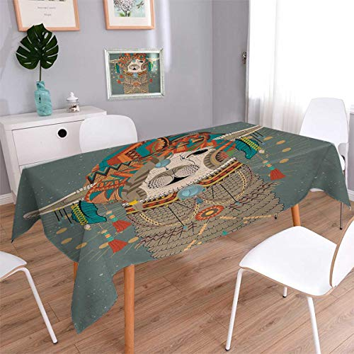 Llama Square Rectangular Tablecloth Colorful Headwear Wearing Llama with Accessories Earrings Necklace Abstract Animal Oblong Wrinkle Resistant Tablecloth Multicolor Size: W60