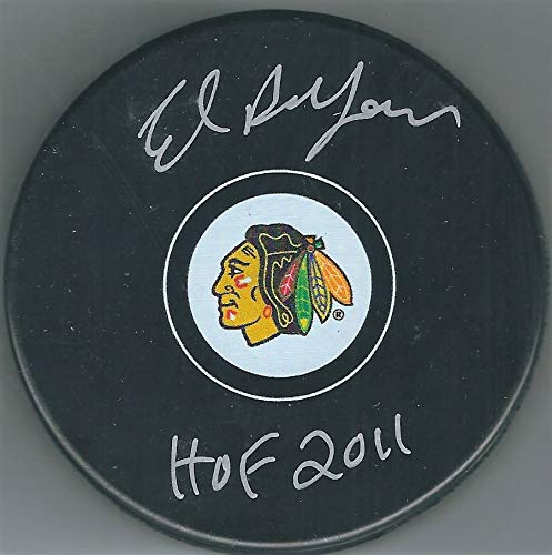 Autographed Ed Belfour Chicago Blackhawks Puck Beckett