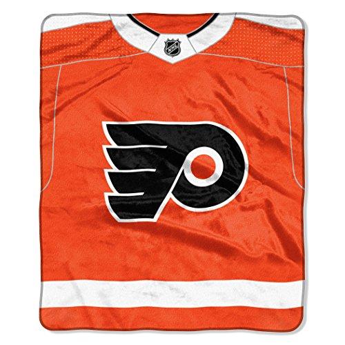 "The Northwest Company Officially Licensed NHL Philadephia Flyers Pro Jersey Plush Raschel Throw Blanket, 50"" x 60"", Orange"