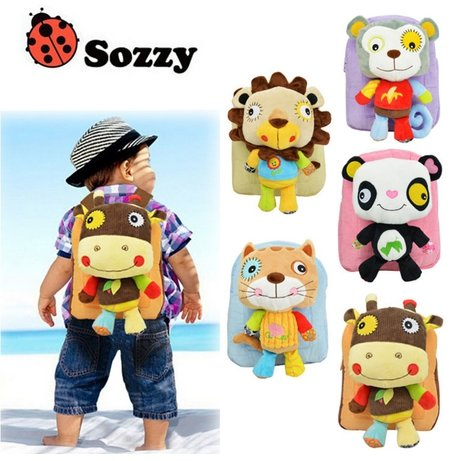 Cute Baby Girls Toddler Plush Backpack Pupils Schoolbag Nursery Rucksack Cat [Dolls removed] (2)