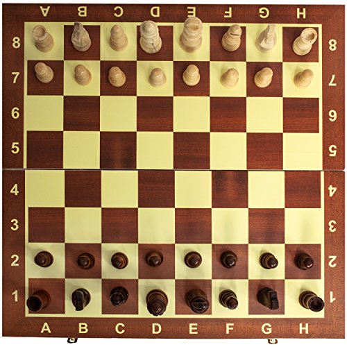 Classic Wooden Chess Set Board - Folding Boards with Storage Bags and Genuine Intricately Carved Wood Pieces Great for Adults and Kids - for Home and Travel - Creatov