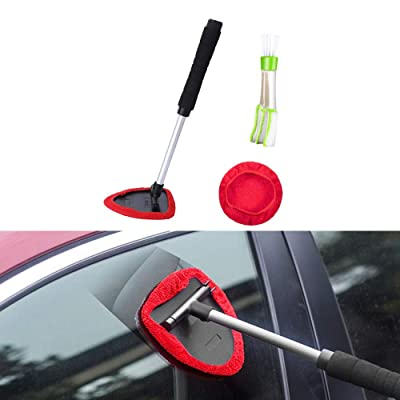3 Pack Windshield Cleaner - Unbreakable Extendable Handle Unique Pivoting Triangular Head Car Window Cleaning Tools Windshield Wiper Cleaner with Air Vent Duster Brush and a Washable Microfiber Bonnet: Automotive