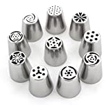 Set of 10 - Different Flower Nozzles Russian Icing Piping Nozzles Cake Decoration Tips Home Baking DIY Tool Tulip Rose Nozzle Tip (1 Pastry Bag included)