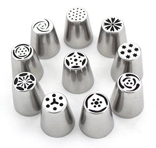 Set of 10 - Different Flower Nozzles Russian Icing Piping Nozzles Cake Decoration Tips Home Baking DIY Tool Tulip Rose Nozzle Tip (1 Pastry Bag included) by ZICOME