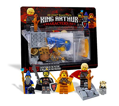 LEGO King Arthur, Lancelot, Merlin, and Mordred Toy - Custom Medieval Arthurian Knight Minifigure