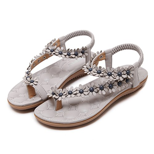 D2C Beauty Womens Bohemia Summer Flower Beads Beach Clip Toe Slingback Flat Sandals Grey 6zkud7nR