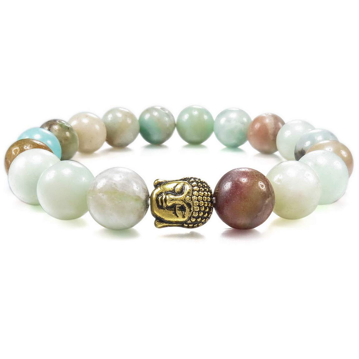 INBLUE Women,Men's 10mm Energy Bracelet Link Wrist Energy Stone Simulated Amazonite Gold Buddha Mala Bead Elastic