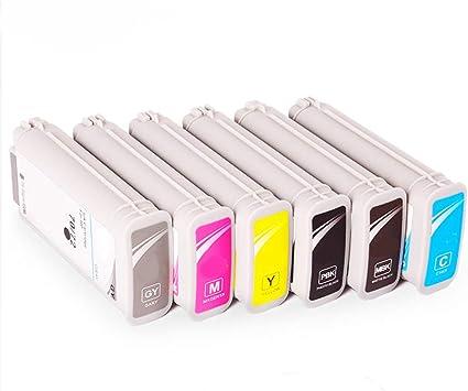 ouguan® 6 x HP72 72 x l cartuchos de tinta compatible con HP DesignJet T610 T770 T795 T1100 T1120 T1200 T1300 T2300 imprimant: Amazon.es: Oficina y papelería