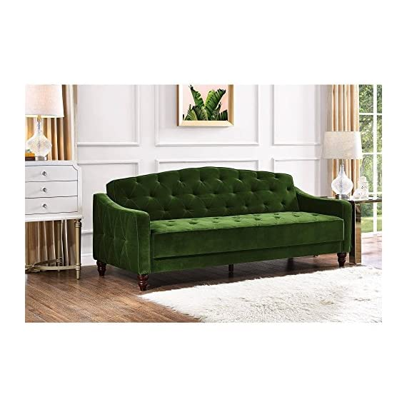Elegant 3 Easy-to-convert Positions Vintage Tufted Sofa Sleeper II, Green Velour -  - sofas-couches, living-room-furniture, living-room - 51k33S %2BkvL. SS570  -