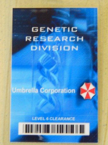 HALLOWEEN COSTUME MOVIE PROP - ID Security Badge Umbrella Corporation (Resident Evil) Blue Genetic Resarch]()