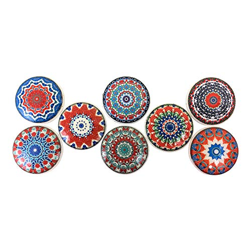 Set of 8 Red White and Blue Mandala Wood Cabinet Knobs (Set 1) -