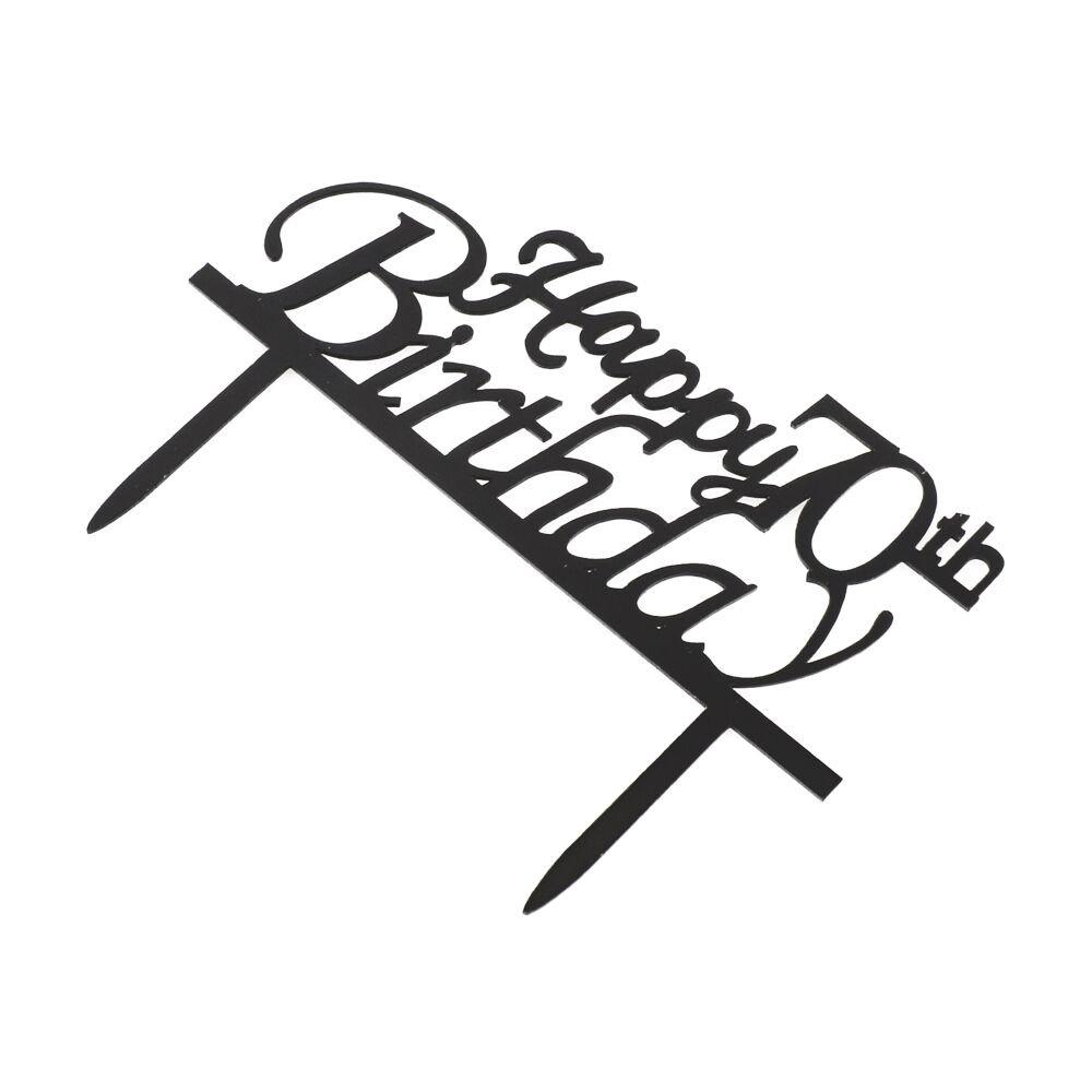Happy 70th Birthday Cake Topper, Black Acrylic Cake Topper, 70th Birthday Party Decorations