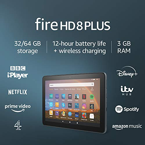 Fire HD 8 Plus tablet, 8″ HD display, 32 GB, Slate – with Ads, Our best 8″ tablet for portable entertainment