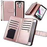 Wallet Case for LG G4, xhorizon TM FLK Premium Leather Folio Case Wallet Magnetic Detachable Removable Wristlet Purse Soft Multiple Card Slots Cover for LG G4 (Rose-gold)