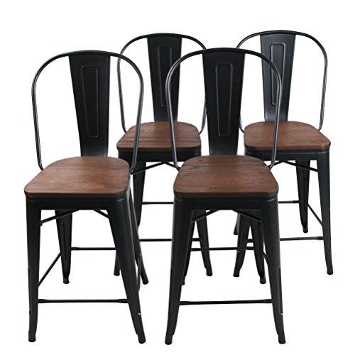 Changjie Furniture 24 Inch High Back Metal Bar Stool for Indoor-Outdoor Kitchen Counter Bar Stools Set of 4 �� (24 inch, High Back Matte Black Wooden)