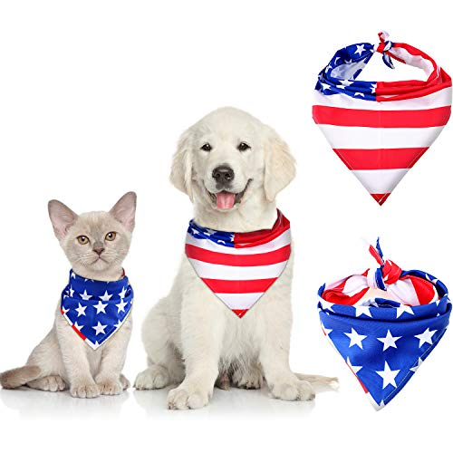 (Syhood 2 Pieces Dog Bandana Pet Collar American Flag Cat Pet Scarf 4th of July Washable Dog Bibs for Dog and Cat Supplies)