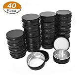 Aybloom Aluminum Tin Cans - 40 Pack 1OZ/30G Round Metal Tin Container Screw Top Steel Tin Cans Cosmetic Sample Containers Candle Travel Tins