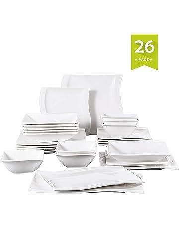 MALACASA, Series Flora, 26 Piezas Vajillas de Porcelana Blanca, 6 Plato de Cena