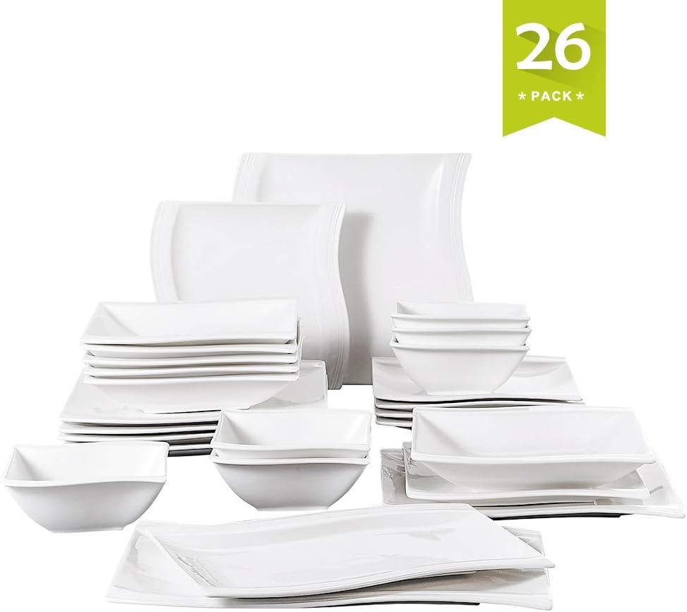 26 Piezas Vajillas de Porcelana
