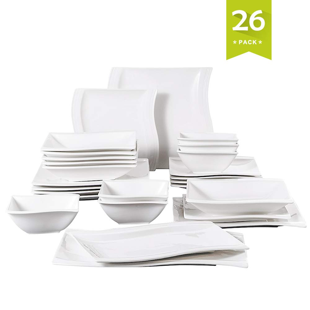 Malacasa 26-Piece Porcelain Dinnerware Set for 6 Person, Stoneware Dinner Set with Dinner Plates Soup Plates Dessert Plates Cups Saucers Service for 6, Ivory White, Series Flora