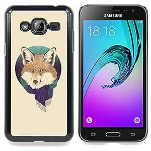 """Qstar Arte & diseño plástico duro Fundas Cover Cubre Hard Case Cover para Samsung Galaxy J3(2016) J320F J320P J320M J320Y (Fox Retrato Foxy bufanda del invierno Bosque Nieve Animal"""")"""