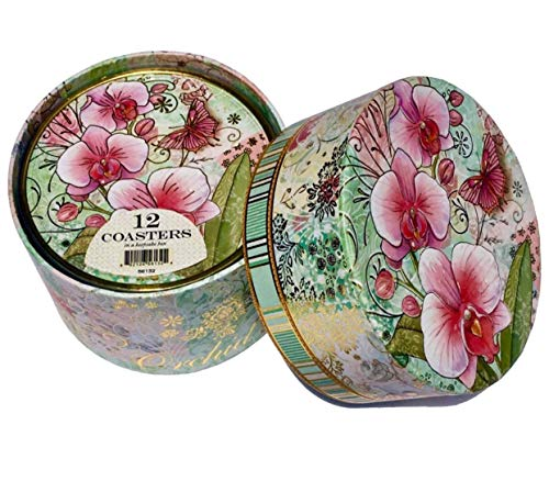 Punch Studio Pink Orchids Boxed Coaster Set in Keepsake Box 56133,12 ct