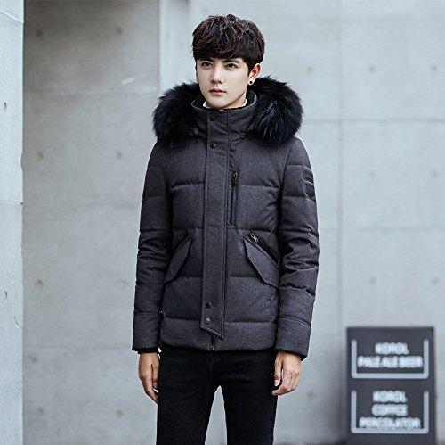 L black ZHUDJ Men'S Fur Collar Jacket Mens Jacket Men Hooded Large Fur Collar