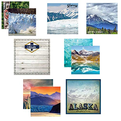 """Custom Bundle Set of 7 Alaska Themed Travel and Vacation 12"""" x 12"""" Scrapbook Papers - from Various Vendors"""