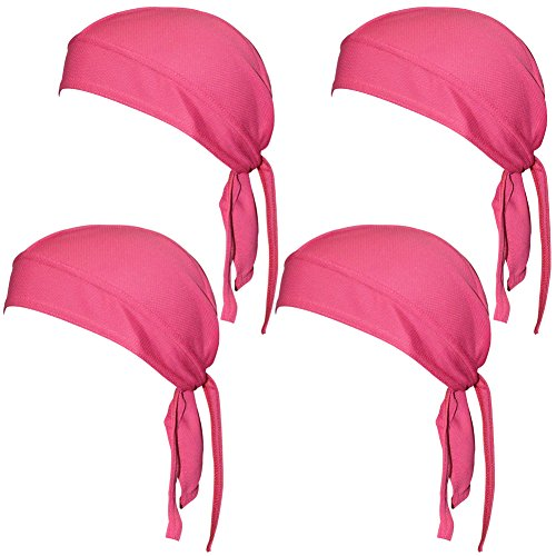 QING Sweat Wicking Beanie Cap Hat Chemo Cap Skull Cap Wrap for Men and Women (Rose 4 Pack)