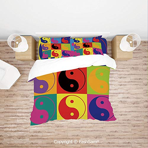 FashSam Duvet Cover 4 Pcs Comforter Cover Set Pop Art Design Yin Yang Signs Hippie Style Eastern Asian Decorations Peace and Balance for Boys Grils Kids(King) ()