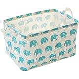OUNONA Laundry Bag Organizer Baby Toy Storage Basket Hamper (Green Elephant)