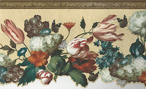 Wallpaper Border Floral Pink Red Teal Green Orange on Cream with Faux Wood Trim ()