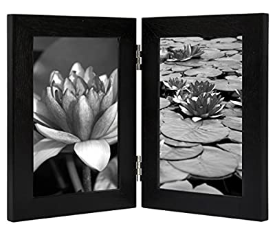 4x6 Inch Hinged Picture Frame with Glass Front - Made to Display Two 4x6 Inch Pictures, Stands Vertically on Desktop or Table Top