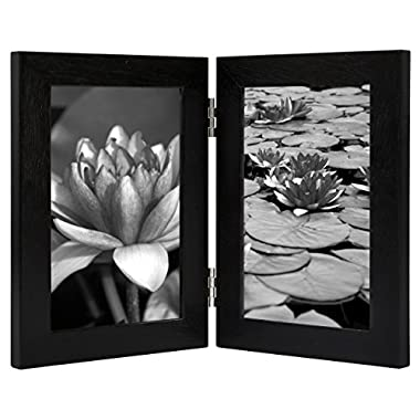 4x6 Inch Black Hinged Picture Frame with Glass Front, Stands Vertically on Desktop or Table Top