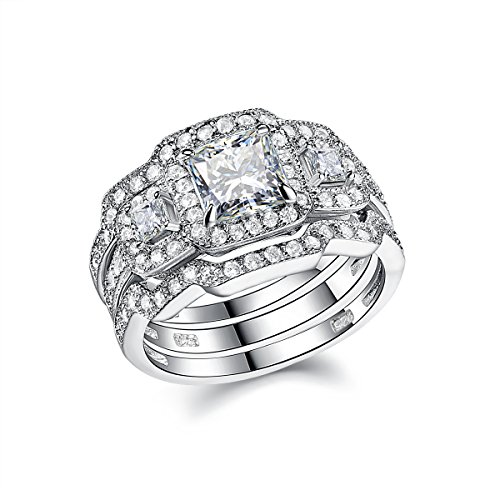 Newshe Engagement Wedding Ring Set For Women 925 Sterling Silver 3pcs Princess White AAA Cz Size 8 - Sterling Silver Engagement Square Ring