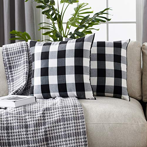 Foindtower Pack of 2 Decorative Cotton Buffalo Throw Pillow Covers Classic Check Plaid Gingham Cushion Cover Rustic Farmhouse Modern Retro Decor for Sofa Bedroom Chair 18 x 18 Inch Black White