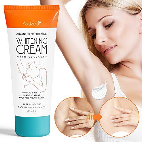 AsaVea Whitening Cream Natural Underarm Lightening Brightening Cream, Armpit Lighting & Bikini Intimate Bleaching, Crotch & Nipple Whitening Pinkish Cream, White