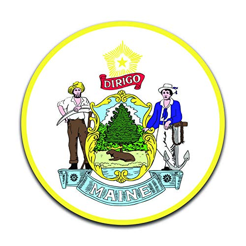 Maine State Seal (2 Pack) Vinyl Decal Sticker - Car Truck Van SUV Window Wall Cup Laptop - Two 5 Inch Decals - ()