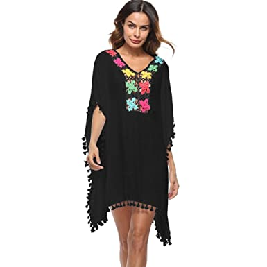 864155cef36b6 Brezeh Women Bikini Cover Up, Women Summer Boho Floral Beach Cover Up Plus  Size Loose Bikini Stylish Beachwear Swimsuit Sunscreen Shirt Blouse (Free  ...