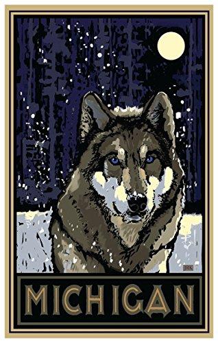 michigan-timberwolf-giclee-travel-art-poster-by-artist-joanne-kollman-12-x-18-inch-art-print-for-bed