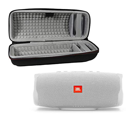 JBL Charge 4 Waterproof Wireless Bluetooth Speaker Bundle with Portable Hard Case – White