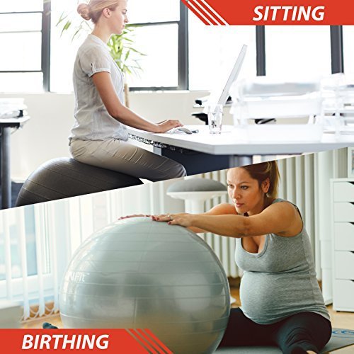 URBNFit Exercise Ball (Multiple Sizes) for Fitness, Stability, Balance & Yoga - Workout Guide & Quick Pump Included - Anti Burst Professional Quality Design (Red, 55CM) by  (Image #5)