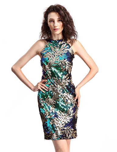Avoir Aime Women's Multicolored Gold Leaf Sequin Halter Top Cocktail Party Dress - M (Peacock Evening Dress Blue)