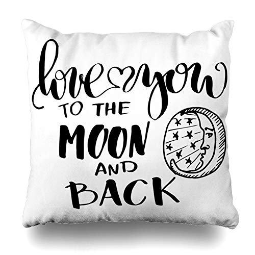 Ahawoso Throw Pillow Cover Hand Blackboard Lettering Love You Moon Back to Valentine Inscription White 39 Day Holidays Fun Decor Zippered Cushion Case 18
