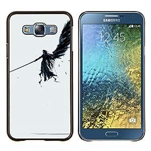 KLONGSHOP // Cubierta de piel con cierre a presión Shell trasero duro de goma Protección Caso - ÁNGEL OSCURO - Samsung Galaxy E7 E700 //